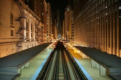 "View of the ""L"" from Adams/Wabash in the Loop."