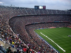 The Camp Nou, the largest stadium in Europe.