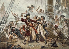 Capture of the Pirate Blackbeard, 1718 depicting the battle between Blackbeard and Robert Maynard in Ocracoke Bay; romanticized depiction by Jean Leon Gerome Ferris from 1920
