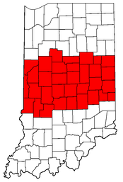 Highlighted are the counties in Central Indiana.