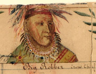 Crow Indian chief Big Shadow (Big Robber), signer of the Fort Laramie treaty (1851). Painting by Jesuit missionary De Smet.