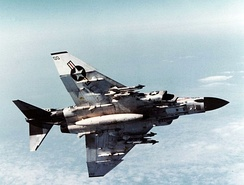 "VF-96 F-4J ""Showtime 100"" armed with Sidewinder and Sparrow missiles, 9 February 1972"