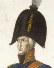 Painting of a frowning man wearing a blue military coat with a high collar and an enormous bicorne hat.