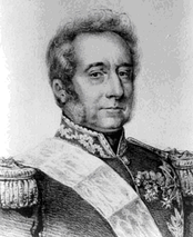 Black and white print shows a ramrod straight man with wavy hair and long sideburns. He wears a dark military uniform of the Napoleonic period with epaulettes, lace on the collar and medals pinned to the left breast.