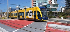 Gold Coast's G:Link Light Rail runs on a mix of dedicated right of way, tunnels and at grade intersections
