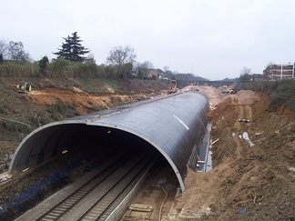 Looking west towards the station from the Marsham Lane bridge in March 2005, showing the extent of construction three months before the tunnel collapsed
