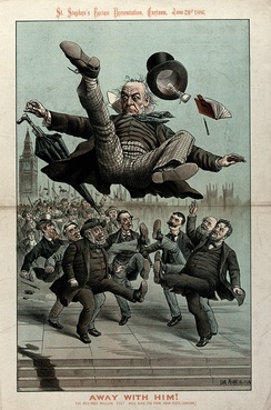 "A political cartoon depicting Gladstone ""kicked out of office"" in 1886"