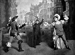 The beginning of a staged duel from Act IV of Gounod's Faust.