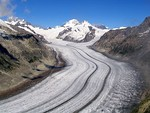 The Aletsch Glacier, the largest glacier in the Swiss Alps.