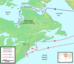 Map of Henry Hudson's 1609–1611 voyages to North America for the Dutch East India Company (VOC)