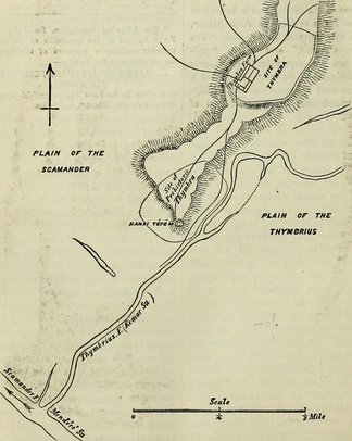 Frank Calvert's sketch of the location of Thymbra Farm on the right bank of Kemer Creek (the ancient Thymbria), a right tributary of the Scamander. Using it one can easily locate the farm, which was confiscated by the Turkish government in 1939 (again, as it was Turkish headquarters in the Battle of Gallipoli) and remains a government farm. The modern buildings are next to the old farm on the east. The village was redistricted out of existence, but it was never there during the Calvert tenure.[36]