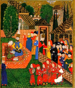 Registration of boys for the devşirme. Ottoman miniature painting from the Süleymanname, 1558.[23]