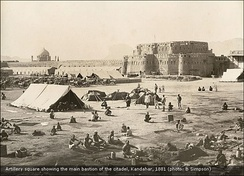 British and allied forces at Kandahar after the 1880 Battle of Kandahar, during the Second Anglo-Afghan War. The large defensive wall around the city was removed in the early 1930s by the order of King Nadir.