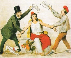 Satiric depiction of late 19th-century political tensions in Spain