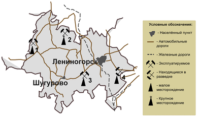Карта-схема нефтяных месторождений