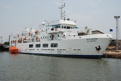 Passenger ship MV Amindivi of the Lakshadweep Islands administration docked at Old Mangalore port