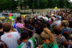 Members of the public paying their respects outside Mandela's Houghton home