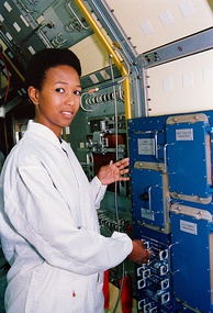 Mae Jemison at the Kennedy Space Center in January 1992
