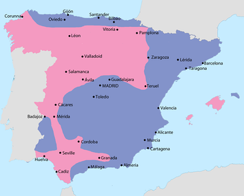 Map showing Spain in September 1936:  Area under Nationalist control  Area under Republican control