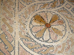 Detail from the mosaic floor of the Byzantine church of in Masada. The monastic community lived here in the 5-7th centuries.