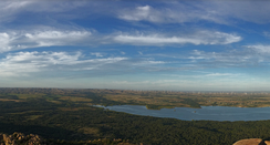View of Lake Lawtonka, wind turbines, and plains from atop Mount Scott in Oklahoma