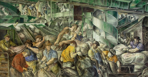 Reginald Marsh, 1936, Workers sorting the mail, a mural in the U.S. Customs House in New York