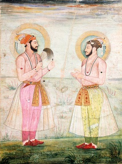 Mughal princes wearing muslin robes in 1665 CE.