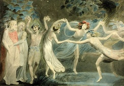 Oberon, Titania and Puck with Fairies Dancing. By William Blake, c. 1786. Tate Britain.