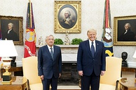 Obrador with U.S. President Donald Trump at the White House in July 2020