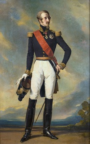 Prince Louis, Duke of Nemours wearing a red sash (Legion of Honour) together with his ceremonial military uniform. Date 1840s.