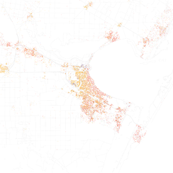 Map of racial distribution in  Corpus Christi, 2010 U.S. Census. Each dot is 25 people: White, Black, Asian, Hispanic or Other (yellow)