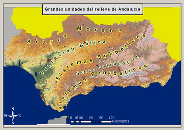 Locations of the principal features of the Andalusian terrain.