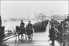 Royal Newfoundland Regiment crossing the Rhine into Germany, 1918