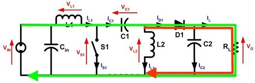 Figure 3: With S1 open current through L1 (green) and current through L2 (red) produce current through the load