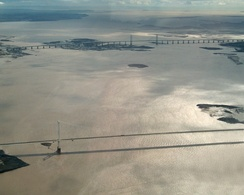 The Severn bridges crossing near the mouth of the River Severn