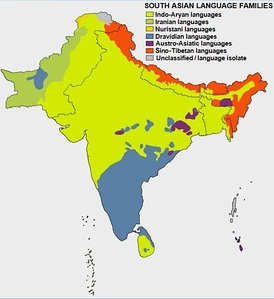 Ethno-linguistic distribution map of South Asia.
