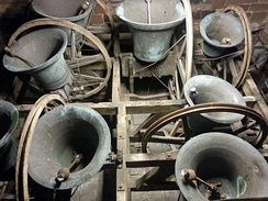 "English full-circle bells shown in the ""up"" position."