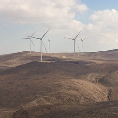 Partial view of the 117 MW Tafila Wind Farm in southern Jordan is the first and largest onshore wind farm in the Middle East.[191]