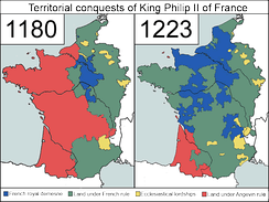 Territorial development under Philip  August (Philip II), 1180–1223