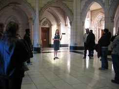 A tour guide in the Centre Block of Parliament Hill.