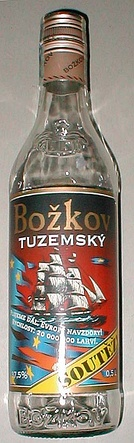 Tuzemák, a sugar-beet-based alcohol brand from Czech Republic, is golden red in color.