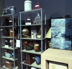 Showcase of an urn shop in Nice, France