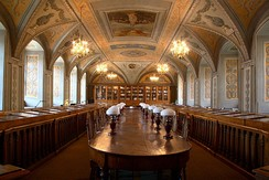 One of the Vilnius University Library reading rooms, decorated in 1803 with the portraits of the 12 most prominent figures in antique art and science