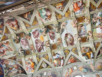 Michelangelo painted the ceiling of the Sistine Chapel; the work took approximately four years to complete (1508–1512)