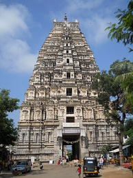 Gopuram of the Hindu Virupaksha Temple has a fractal-like structure where the parts resemble the whole.