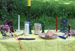 A Wiccan altar erected at Beltane.