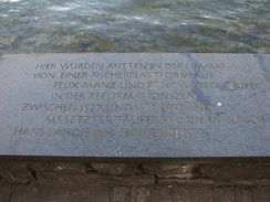 Memorial plate at Schipfe quarter in Zürich for the Anabaptists executed in the early 16th century by the Zürich city government