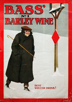 Advertisement for Bass' No.1 Barley Wine, showing the Bass Red Diamond