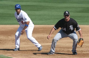 Furcal (left) with White Sox first baseman Paul Konerko during spring training action, 2008.