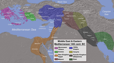 Map of the Ancient Near East during the Amarna Period, showing the great powers of the day: Egypt (orange), Hatti (blue), the Kassite kingdom of Babylon (black), Middle Assyrian Empire (yellow), and Mitanni (brown). The extent of the Achaean/Mycenaean civilization appears in purple.